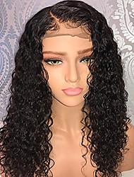 cheap -short deep curly human hair lace front wigs with baby hair pre plucked natural hairline brazilian hair bob wig for ladies (12 inch, full lace wig)