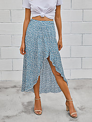 cheap -Women's Casual / Daily Basic Skirts Floral Ruffle Black Blue Green