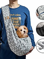 cheap -small dog cat sling carrier pouch shoulder strap pet puppy hands free travel outing bag backpack suitable for 5-13 lb (gray, stripe, adjustable)