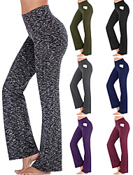 cheap -Women's High Waist Yoga Pants Flare Leg Multiple Pockets Tummy Control Butt Lift 4 Way Stretch Dark Gray Wine Ion Grey Fitness Gym Workout Running Sports Activewear High Elasticity Loose / Quick Dry