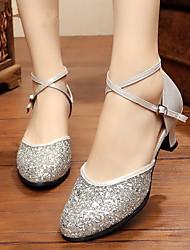 cheap -Women's Dance Shoes Modern Shoes Salsa Shoes Heel Cuban Heel Black Red Gold / Performance / Practice