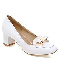 cheap -Women's Heels Block Heel Square Toe Classic Daily PU Bowknot Solid Colored Almond White Black