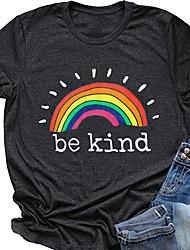 cheap -Women's Be kind T-shirt Rainbow Print Round Neck Tops Basic Basic Top Black