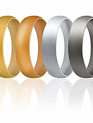 cheap -silicone wedding ring for men set of 4 affordable comfort fit 6mm love metallic silicone rubber wedding bands - light gold, copper gold, silver, beveled metallic platinum - size 6