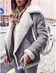 cheap -Women's Solid Colored Patchwork Active Winter Faux Fur Coat Regular Work Long Sleeve Cotton Blend Coat Tops Black