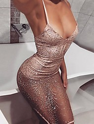 cheap -Women's Strap Dress Knee Length Dress - Sleeveless Solid Color Sequins Summer V Neck Hot Sexy Club Slim 2020 Blushing Pink S M L XL