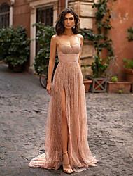 cheap -Women's Strap Dress Maxi long Dress Beige Sleeveless Solid Color Split Mesh Patchwork Spring Summer Party Formal 2021 S M L XL XXL