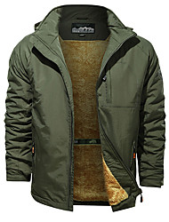 cheap -Men's Jacket Regular Solid Colored Daily Basic Black Army Green Khaki M L XL