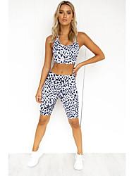 cheap -Women's Basic Leopard Cheetah Print Gym Two Piece Set Tank Pant Cut Out Print Tops / Slim
