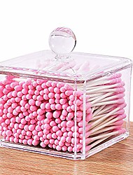 cheap -clear acrylic cotton swabs & ball holder,dustproof storage organizer with lid for bathroom & vanity, plastic canister jar for q-tips, cotton pads, square stackable set makeup container (6019a)