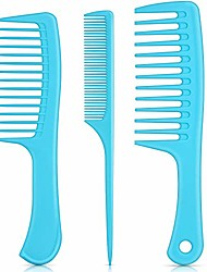 cheap -3 pieces handle hair combs wide tooth hair comb detangling comb tail comb styling comb anti-static for thick hair long hair and curly hair (ocean blue)