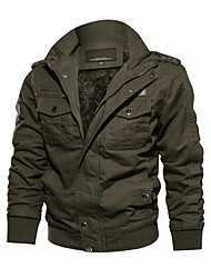 cheap -Men's Winter Jacket Solid Color Sports Outdoor Long Sleeve ArmyGreen Black khaki M L XL