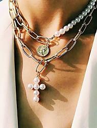 cheap -Men's Women's Choker Necklace Pendant Necklace Cross Romantic Casual / Sporty Fashion Modern Imitation Pearl Alloy Gold Silver 51 cm Necklace Jewelry 1pc For / Beaded Necklace / Pearl Necklace