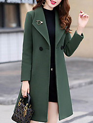 cheap -Women's Solid Colored Oversized Basic Fall & Winter Coat Long Daily Long Sleeve Wool Blend Coat Tops Blue