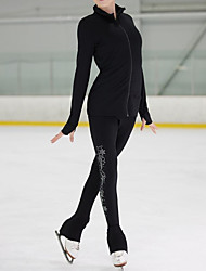 cheap -Figure Skating Jacket with Pants Women's Girls' Ice Skating Pants / Trousers Top Black Glitter Stretchy Training Skating Wear Warm Crystal / Rhinestone Long Sleeve Ice Skating Winter Sports Figure