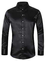 cheap -silk satin shirt men 2019 casual long sleeve slim fit mens dress shirts business wedding male shirt,black,asian size xxl