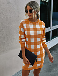 cheap -Women's Sweater Jumper Dress Short Mini Dress - Long Sleeve Print Fall Winter Strapless Casual Going out Slim 2020 Black Orange Gray S M L XL