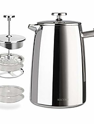 cheap -french press coffee maker, 34-ounce, 18/10 stainless steel insulated coffee press with extra screen