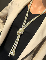 cheap -Women's Beaded Necklace Long Necklace Stacking Stackable Friends Precious Ethnic Fashion Classic Punk Imitation Pearl Chrome White 120 cm Necklace Jewelry 2pcs For Street Gift Birthday Party Beach