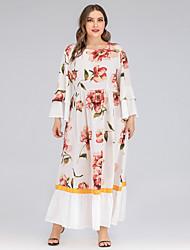 cheap -Women's Swing Dress Maxi long Dress - Long Sleeve Floral Ruched Patchwork Print Fall Plus Size Casual Loose 2020 White XL XXL 3XL 4XL