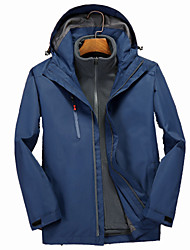 cheap -Men's Hoodie Jacket Hiking Jacket Hiking 3-in-1 Jackets Winter Outdoor Solid Color Waterproof Windproof Breathable Quick Dry 3-in-1 Jacket Winter Jacket Top Hunting Ski / Snowboard Camping / Hiking
