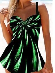 cheap -Women's Sexy  Swimsuit Rainbow High Waist Print Padded Normal Strap Swimwear Bathing Suits Purple Green Rainbow / Padded Bras