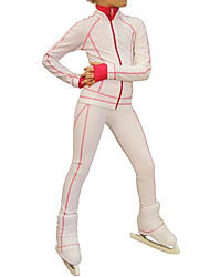 cheap -Figure Skating Jacket with Pants Women's Girls' Ice Skating Pants / Trousers Top White Stretchy Training Skating Wear Warm Solid Colored Long Sleeve Ice Skating Winter Sports Figure Skating / Kids