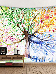 cheap -Oil Painting Style Wall Tapestry Art Decor Blanket Curtain Hanging Home Bedroom Living Room Decoration Life Tree