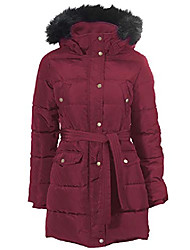 cheap -women's plus size belted puffer coat - l, maroon red