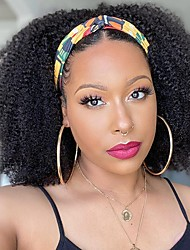 cheap -Synthetic Wig Afro Jerry Curl With Headband Middle Part Wig Medium Length Natural Black Synthetic Hair 16 inch Women's Fashionable Design Fashion Comfortable Black / African American Wig