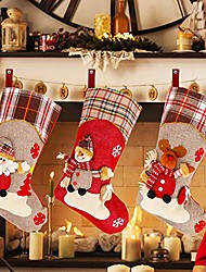 """cheap -christmas stockings, 18"""" set of 3 santa - santa snowman reindeer 3d plush for xmas home decor, stuffed christmas tree hanging toys, candy gift bag, christmas decorations and party accessory"""