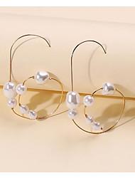 cheap -Women's Pearl Hoop Earrings Dangle Earrings Geometrical Fashion Stylish Simple Elegant Romantic Imitation Pearl Earrings Jewelry White For Party Evening Formal Date Beach Festival 1 Pair