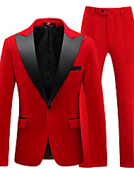 cheap -Tuxedos Standard Fit Peak Single Breasted One-button Cotton Blend Solid Colored