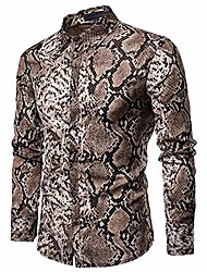 cheap -mens casual long sleeve shirt serpentine leopard python pirnt button-down dress closure