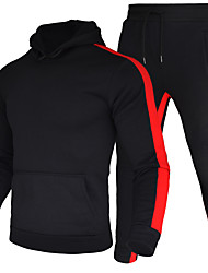 cheap -Men's 2 Piece Tracksuit Sweatsuit Athleisure Long Sleeve 2pcs Winter Thermal Warm Breathable Moisture Wicking Fitness Gym Workout Running Jogging Training Sportswear Stripes Normal Athletic Clothing