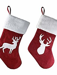 cheap -christmas stockings 2 pcs set hand embroidered cute animal deer socks (red)