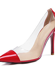 cheap -Women's Heels Stiletto Heel Pointed Toe Sexy Daily Walking Shoes PU Color Block Almond Black Red