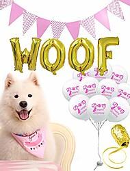 cheap -dog birthday bandana, cute cartoon print birthday party decoration set-10 pawty ballons woof flag dog birthday bandana scarfs great birthday outfit gift for boy dog
