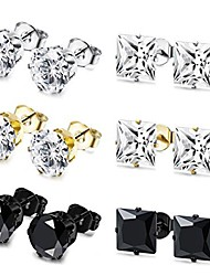 cheap -6 pairs stainless steel stud earrings for men women cz earrings,4mm