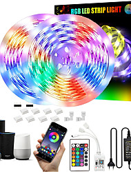 cheap -32.8Ft 10M LED Light Strips LED WiFi Wireless RGB Tiktok Lights LED Smart Waterproof 5050  With 24 Keys Remote Control Flexible Tape Lights Fits AlexaGoogle Home And 12V Adapter