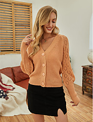 cheap -Women's Basic Knitted Hollow Out Solid Color Cardigan Acrylic Fibers Long Sleeve Sweater Cardigans Open Front Fall Winter Blushing Pink