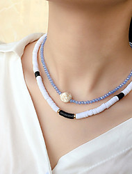 cheap -Women's Choker Necklace Beaded Necklace Handmade Friends Gemini Lucky Aquarius Blessed Simple Luxury Ethnic Fashion Crystal Silicone Stone Blue Black 40 cm Necklace Jewelry 2pcs For Street Gift