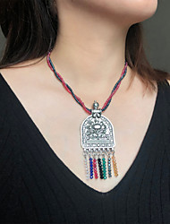 cheap -Women's Pendant Necklace Beaded Necklace Retro Friends Love Joy Lucky Blessed Unique Design Vintage Ethnic Fashion Crystal Glass Alloy Rainbow 42 cm Necklace Jewelry 1pc For Gift Masquerade Street