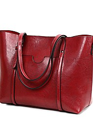 cheap -women lightweight leather backpack black purse versatile classic fashion pu leather (red)