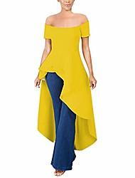 cheap -women  high low tops ruffle short sleeve bodycon shirt dresses yellow