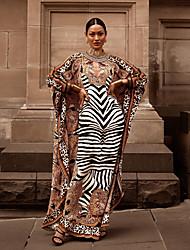 cheap -Women's Sheath Dress Maxi long Dress - Long Sleeve Leopard Striped Print Fall Elegant Slim 2020 Brown One-Size
