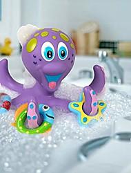 billige -flydende lilla blæksprutte med 3 hoopla ringe interaktivt badelegetøj