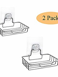 cheap -2 piece home bathroom stainless steel soap case holde,adhesive no drilling,soap dish sponge holder