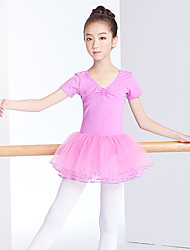 cheap -Ballet Dress Lace Ruching Split Joint Girls' Training Performance Long Sleeve High Lace Cotton