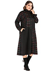 cheap -Women's Shift Dress Midi Dress - Long Sleeve Print Patchwork Print Fall Casual 2020 Black XXL 3XL 4XL 5XL